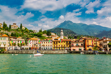 Menaggio town seen from the Lake Como, Lombardy region, Italy