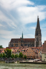 Beautiful view of the Regensburg Cathedral ( St. Peter's Cathedral) on river side of Danube, Bavaria, Germany