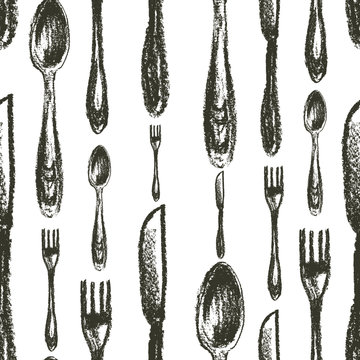 Seamless pattern of spoons,forks, knifes isolated on white. Background. Silverware
