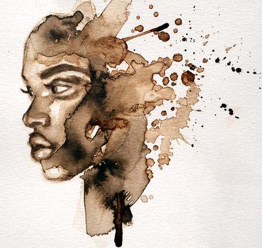 Beautiful African woman portrait in watercolor with splatter