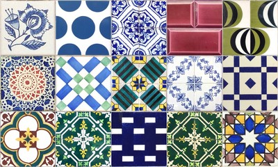 Seamless Portugal or Spain Azulejo Random Tile Background. High Resolution.