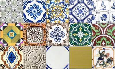 Seamless Portugal or Spain Azulejo Random Tile Background. High Resolution.