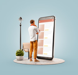 Unusual 3d illustration smart phone application