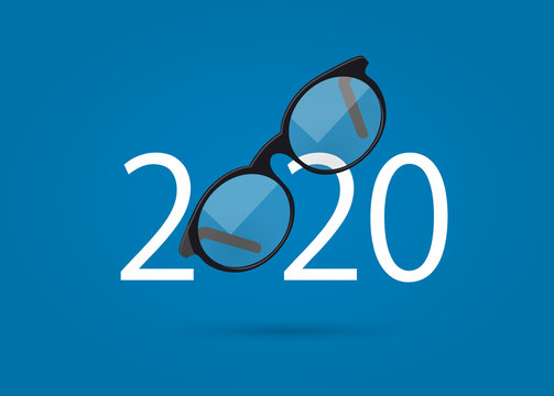 Glasses and 2020. happy new year 2020. 2020 with glasses on isolated background