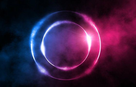Background of an empty dark scene. Circle in smoke on a dark background, neon glow
