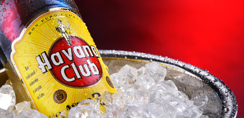 Bottle of Havana Club white rum in bucket with crushed ice