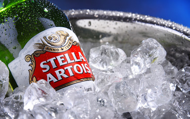 Bottle of Stella Artois beer in bucket with crushed ice