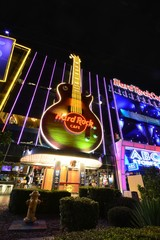 Las Vegas, Nevada - July 25, 2017: Night view of The Hard Rock Cafe on the Strip. The Hard Rock sign is embedded in a Gibson Les Paul Guitar III in Las Vegas on July 25, 2017.
