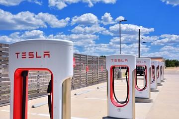 Shamrock, Texas - July 20, 2017: Tesla Supercharger Station in Shamrock, Texas. Tesla motors develops network of the charging stations across World.