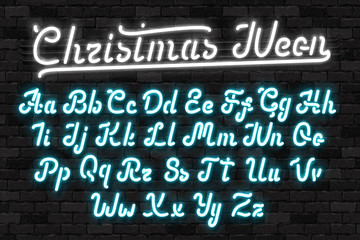 Vector realistic isolated neon sign of Christmas Neon alphabet font for template decoration and invitation covering on the wall background. Concept of Merry Christmas and Happy New Year.