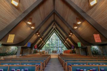 Interiors of the Valley Presbyterian Church. Portola Valley, San Mateo County, California, USA.
