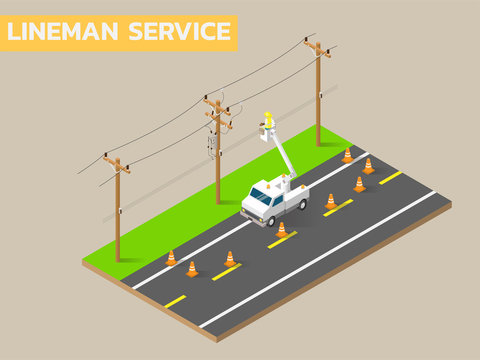 Linemen repairing electricity distribution lines that supply power to homes. Use aerial device and rubber gloves when working.
