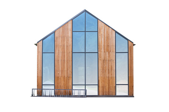 small wooden house isolated with large blue windows on white background