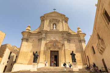 Front view of the Cathedral of the Assumption in the Cittadella of Victoria in Gozo, Malta