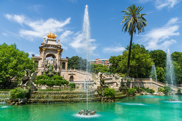 Cascada fountain at the Ciutadella Park with public access in Barcelona