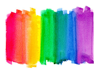 Watercolor rainbow painting backdrop. LGBT the rainbow pride banner bright illustration isolated on white background.Set of colorful brush stroke red,orange,yellow,green,blue,purple bright watercolor.