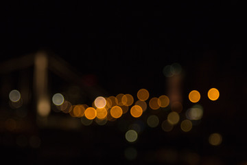 blurry lights of a big city at night. Background for travel photos. bokeh advertising poster