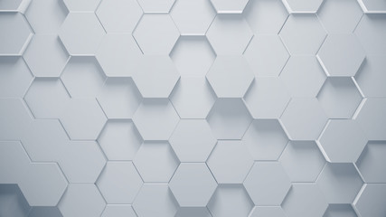 Abstract background with hexagons. Modern technology texture. Clean and creative pattern. 3d illustration.