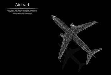 Abstract image Aircraft in the form of lines and dots, consisting of triangles and geometric shapes. Low poly vector background.