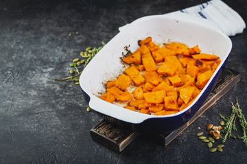 Roasted pumpkin slices with thyme