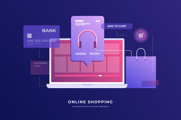 Concept of Internet payments, mobile purchases. Online shopping. Image of laptop with payment plan, bank card and package on blue background. Vector illustration.