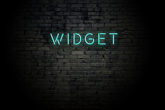 Highlighted brick wall with neon inscription widget