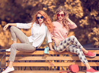 Autumn fashion outdoor. Two Young Beautiful happy woman, stylish hair in trendy fall outfit on the bench. Enchanting Model girl friends in fashionable stylish jackets, pants, autumnal lifestyle Wall mural