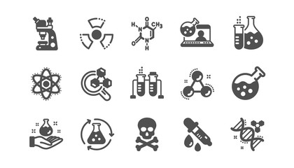 Chemistry lab icons. Chemical formula, Microscope and Medical analysis. Laboratory test flask, reaction tube, chemistry lab icons. Classic set. Quality set. Vector