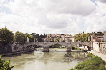 Vittorio Emmanuelle II Bridge beautiful bridge over the Tiber River in Rome