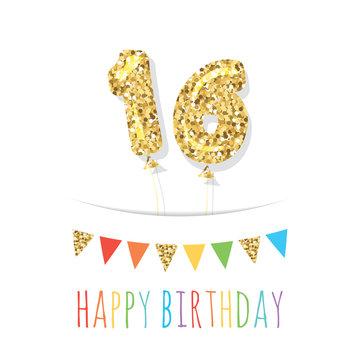 Sixteen cute birthday card template. Gold glitter balloon numbers 16. Vector