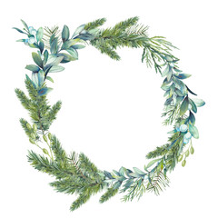 Watercolor Christmas tree and mistletoe wreath. Hand painted vintage round frame with branches, snowberry and leaves isolated on white background. Traditional decorative element
