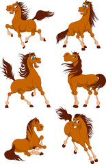 Set of cute horses. Funny horse in different poses. Horse collection. Vector illustration on a white background.