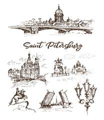Hand drawn different landmarks of Saint Petersburg. Sketches on white background.