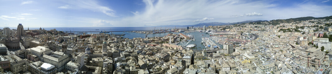 Fototapeten Rosa dunkel Aerial photo shooting with drone of Genova, a famous Italy city, important hub of maritime trade and tourist art