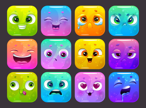Funny carton square faces set. Colorful emoji stickers, isolated GUI assets on dark background.
