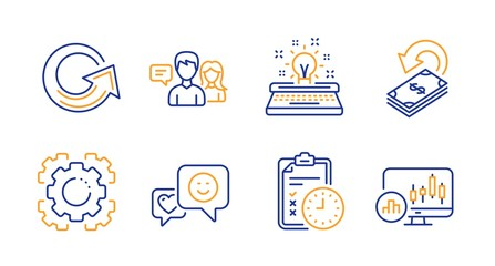 Smile, Seo gear and Exam time line icons set. People talking, Typewriter and Cashback signs. Reload, Candlestick chart symbols. Socila media, Cogwheel. Technology set. Line smile icon. Vector