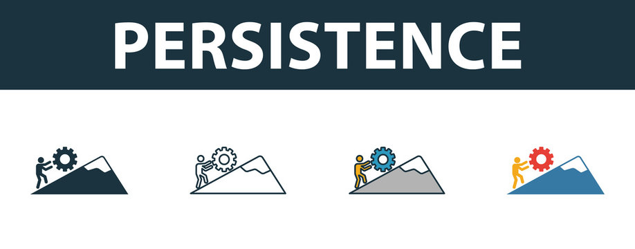 Persistence icon set. Four simple symbols in diferent styles from soft skills icons collection. Creative persistence icons filled, outline, colored and flat symbols