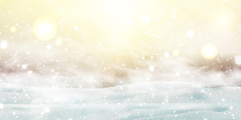Fotomurales - Christmas, Snowy Sunny day. Outdoors. Holiday winter landscape for Merry Christmas with Snowstorm, sun rays, blizzard, flying snow, snowflakes. Christmas scene. Happy new year