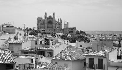 Panoramic top view of the historic center of Palma de Mallorca