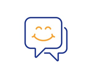 Happy emoticon chat sign. Smile face line icon. Speech bubble symbol. Colorful outline concept. Blue and orange thin line smile face icon. Vector