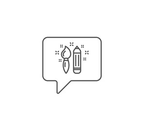 Creativity line icon. Chat bubble design. Graphic art sign. Brush and pencil symbol. Outline concept. Thin line creativity icon. Vector