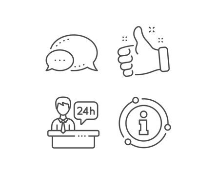 Reception desk line icon. Chat bubble, info sign elements. 24 hour help sign. Hotel service symbol. Linear reception desk outline icon. Information bubble. Vector