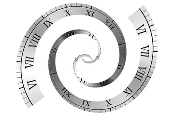 Spiral Roman Numeral Clock Time Line Vector illustration