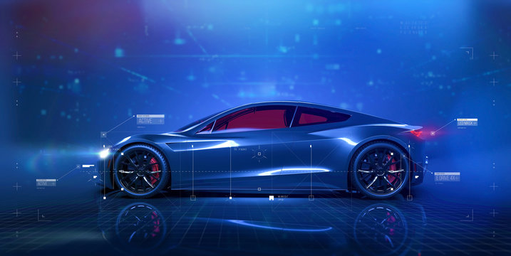Futuristic car technology concept scene with user interface showing vehicle features (3d Illustration)