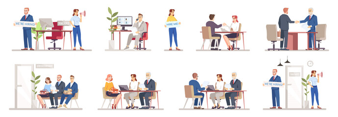 HR agency flat vector illustrations set. Staff search, recruitment. Resume review, interviewing candidates. Help people find work. Employers, recruiters, job seekers isolated cartoon characters Wall mural