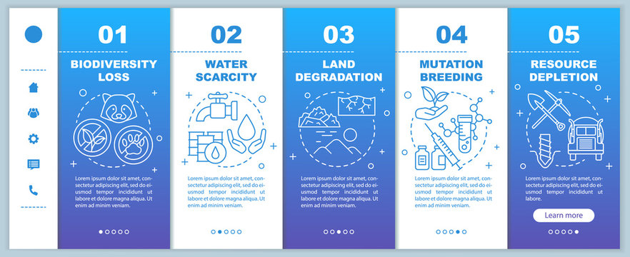 Environmental issues onboarding mobile web pages vector template. Responsive smartphone website interface idea with linear illustrations. Webpage walkthrough step screens. Color concept