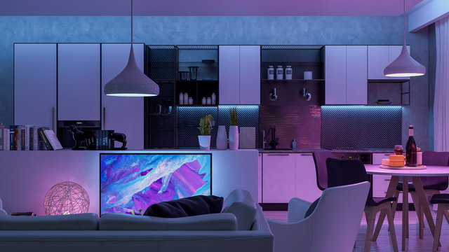 Modern Livingroom with colored led light - Smart home