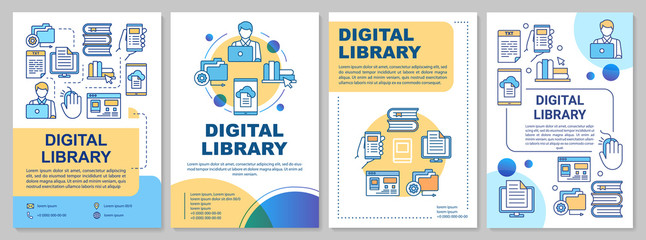 Digital library brochure template. Ebooks reading. Flyer, booklet, leaflet print, cover design with linear illustrations. Vector page layouts for magazines, annual reports, advertising posters