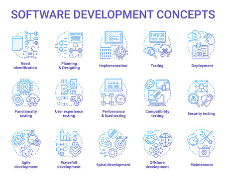 Software development concept icons set. Designing, programming, testing, fixing and maintaining programs. App creation idea thin line illustrations. Vector isolated outline drawings