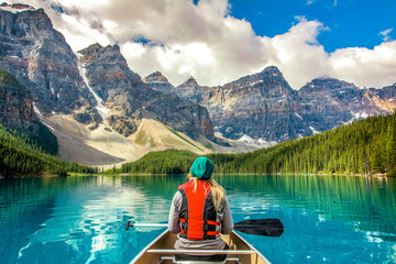 Spoed Foto op Canvas Bergen Moraine Lake Banff National Park Canada